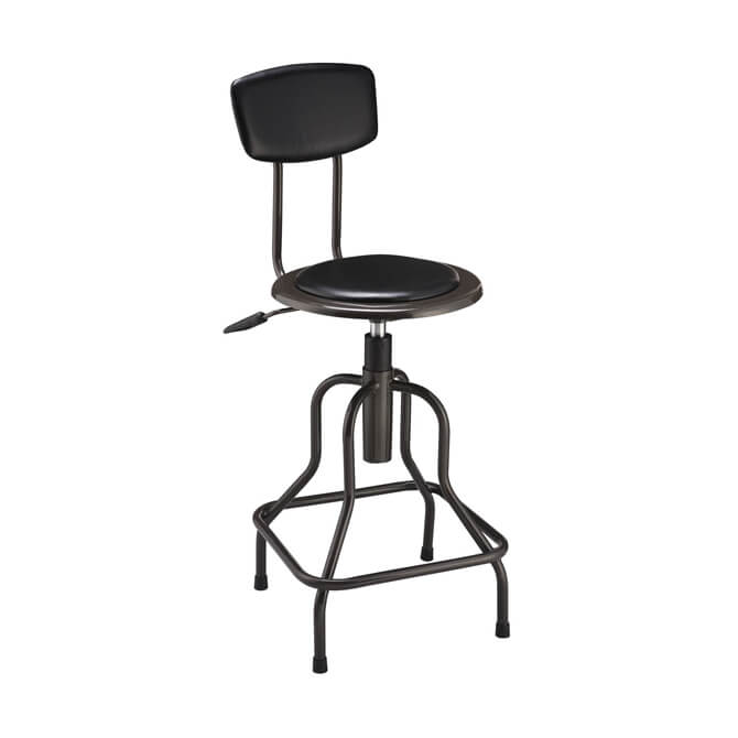 Magnificent Nexel Open Back Industrial Bar Stool With Black Vinyl Seat Ncnpc Chair Design For Home Ncnpcorg