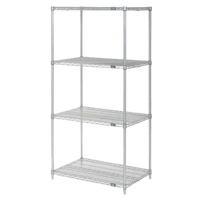 Coated Wire Shelving | Nexel Clear Poly Z Brite Zinc Coated Wire Shelving Kit 18w X 30l X 86h