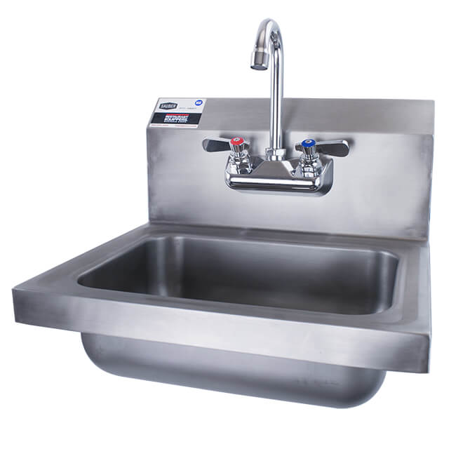 Sauber Stainless Steel Wall Mount Hand Sink With Faucet 17w