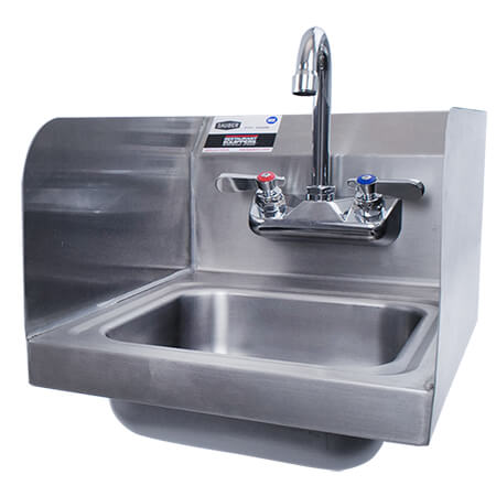 Sauber Stainless Steel Wall Mount Hand Sink With Faucet And Splash