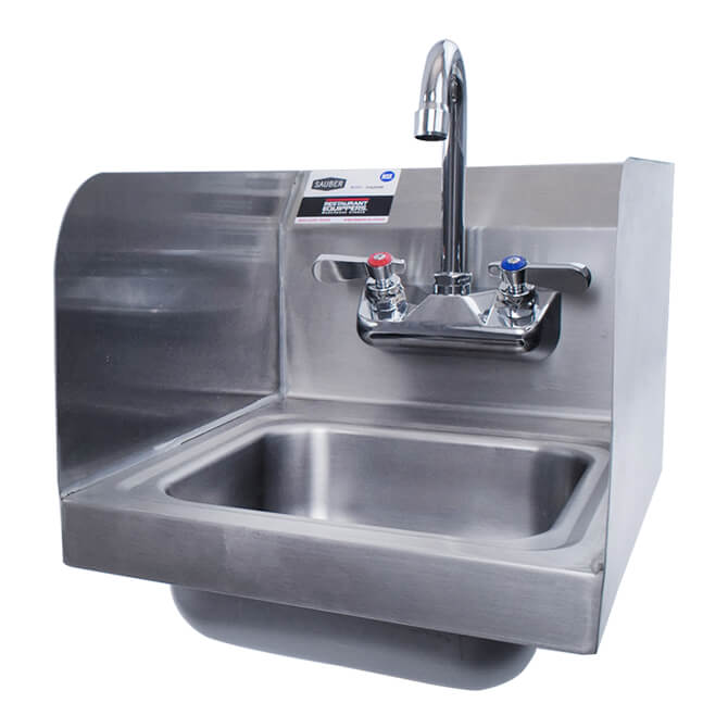 Sauber Stainless Steel Wall Mount Space Saver Hand Sink with Faucet and  Splash Guards 12\