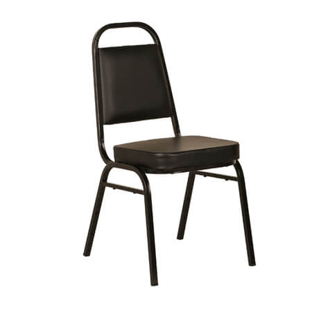 "Modesto Black Metal Square Back Stack Chair with 2"" Black Vinyl Seat"