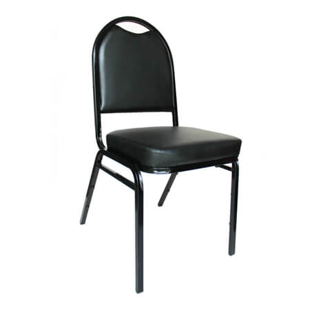 "Modesto Black Metal Round Back Stack Chair with 2"" Black Vinyl Seat"
