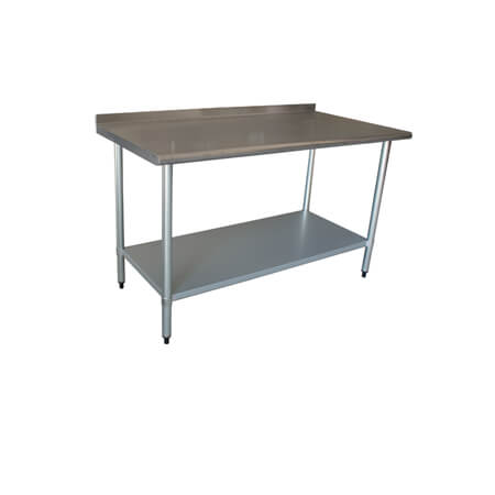 "Sauber Stainless Steel Work Table with 2"" Backsplash 48""W x 24""D x 36""H"