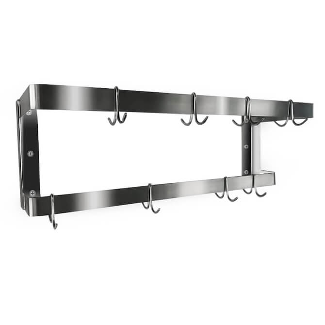 """36/"""" Wall Mount Commercial Kitchen Stainless Steel Double Pot Pan Rack 18 Hooks"""