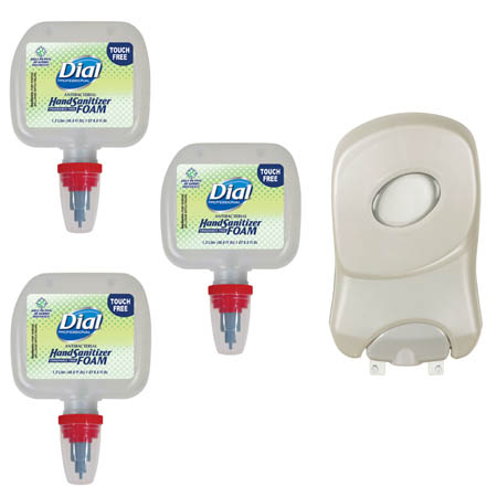 Dial Professional Foam Sanitizer 3-Pack with Free Touch Free Dispenser