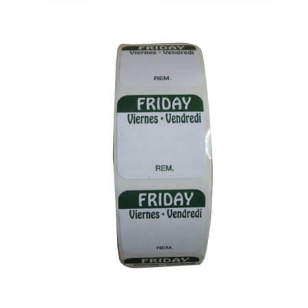 "R3 1"" Friday/Vendredi/Viernes Removable Labels 1,000-Count"