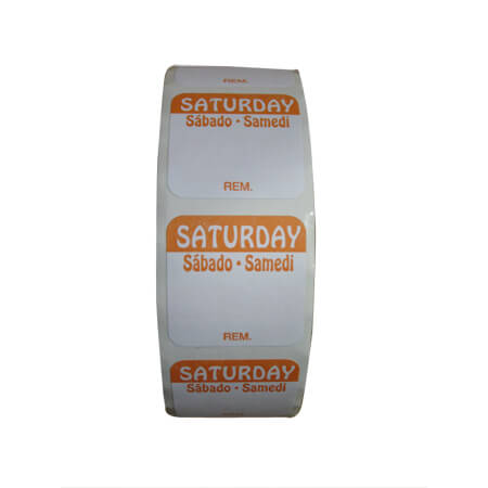 "R3 1"" Saturday/Samedi/Sabado Removable Labels 1,000-Count"