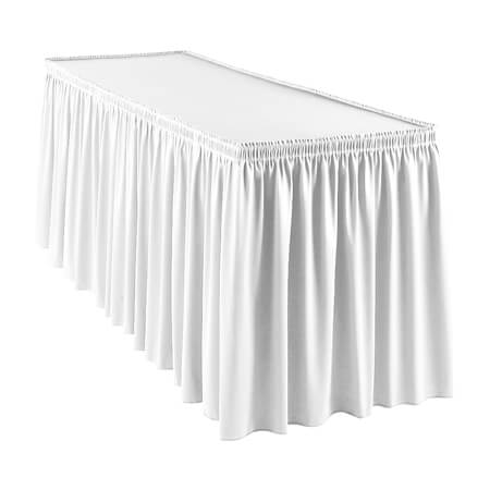 Snap Drape White Wyndham Shirred Pleat Table Skirt with Velcro Clips 13' x 29""