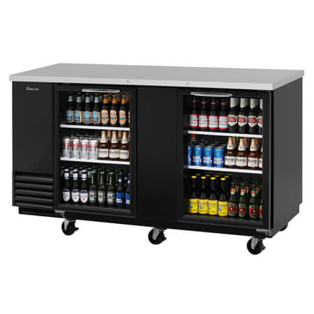 "Turbo-Air 23 cu. ft. Stainless Steel Top Back Bar Cooler with Glass Doors 69""W"