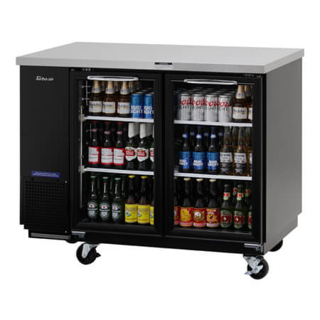 "Turbo-Air 12.2 cu. ft. Shallow Depth Stainless Steel Top Back Bar Cooler with Glass Doors 49-1/8""W"