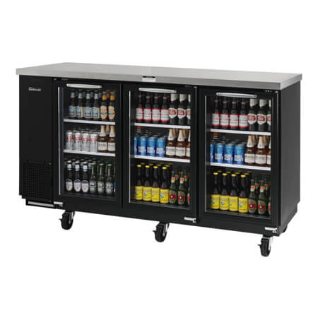 "Turbo-Air 20.6 cu. ft. Shallow Depth Stainless Steel Top Back Bar Cooler with Glass Doors 73-1/8""W"