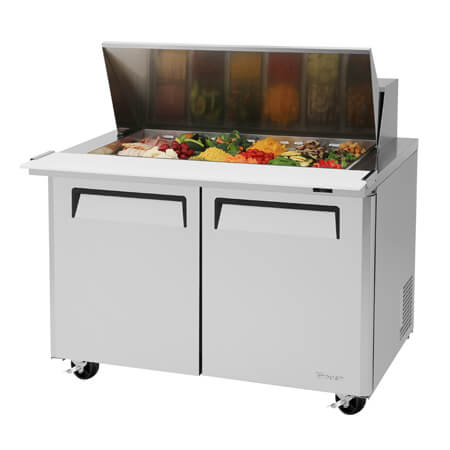 "Turbo-Air 18 Pan 2-Door Mega-Top Sandwich Prep Table 48-1/4""W"
