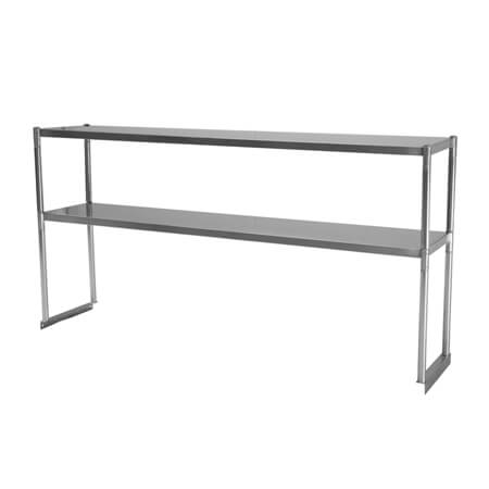 "Turbo-Air Stainless Steel Double Tier Overshelf for Sandwich Prep Tables 36""W"