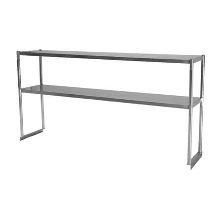 "Turbo-Air Stainless Steel Double Tier Overshelf for Sandwich Prep Tables 48""W"