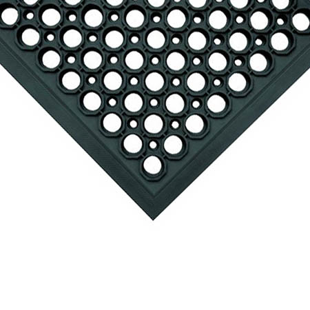 3' x 5' Black Anti-Fatigue Kitchen Floor Mat with Beveled Edges