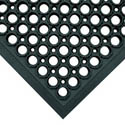 3\' x 5\' Black Anti-Fatigue Kitchen Floor Mat with Beveled Edges