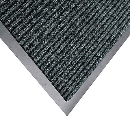 Apache Mills 3' x 5' Gray Carpeted Floor Mat with Ribbed Construction for Single Door Entrance