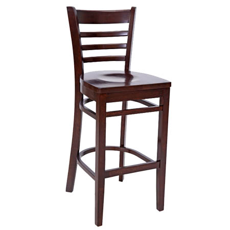 Wood Ladder Back Bar Stool with Walnut Finish Wood Seat