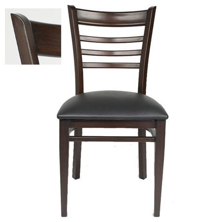 Metal Ladder Back Chair with Walnut Finish and Black Vinyl Seat