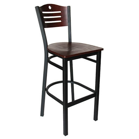 Black Metal Frame Bistro Bar Stool with Mahogany Wood Back and Seat