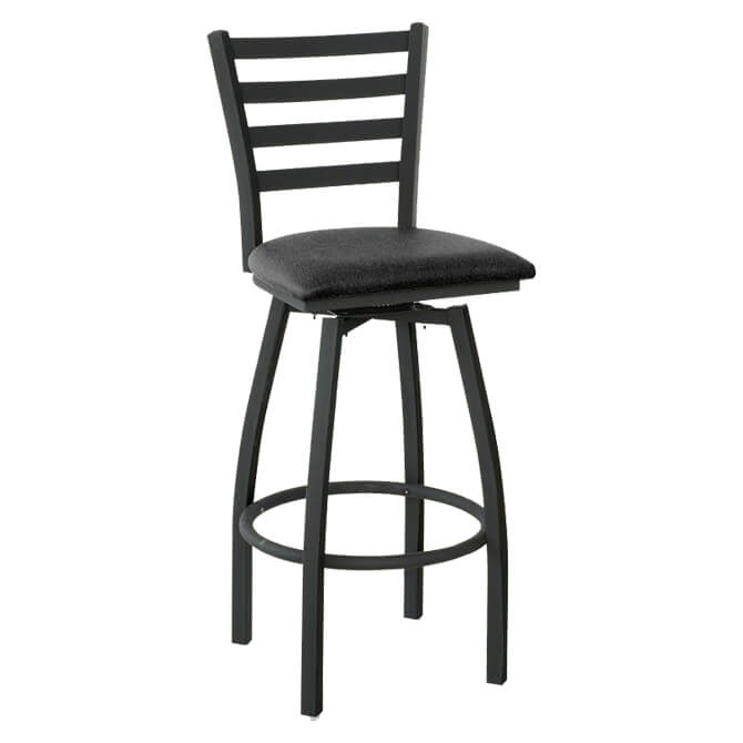Modesto Black Metal Ladder Back Swivel Bar Stool With Vinyl Seat