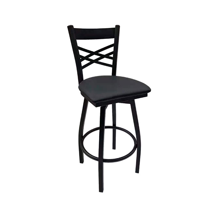 Awesome Modesto Black Metal X Back Swivel Bar Stool With Black Vinyl Seat Machost Co Dining Chair Design Ideas Machostcouk