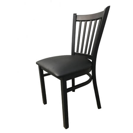 Modesto Black Metal Channel Back Chair with Black Vinyl Seat