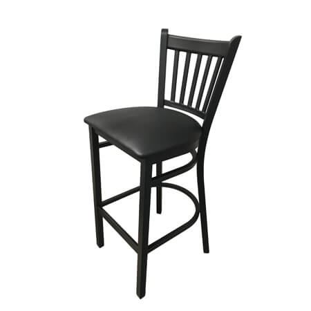 Modesto Black Metal Channel Back Bar Stool with Black Vinyl Seat