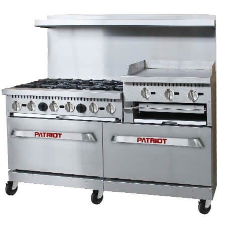"Patriot 6-Burner Natural Gas Range with 24"" Raised Griddle and Broiler 60""W"